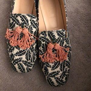 J crew printed tassel loafers/mules